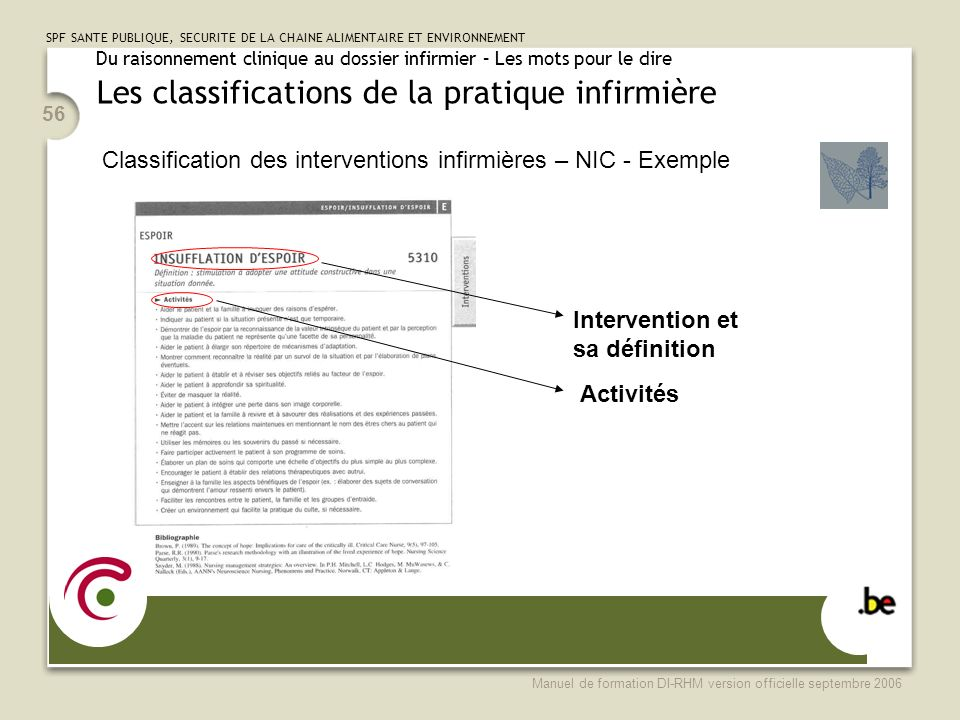 Classification des interventions infirmières – NIC - Exemple