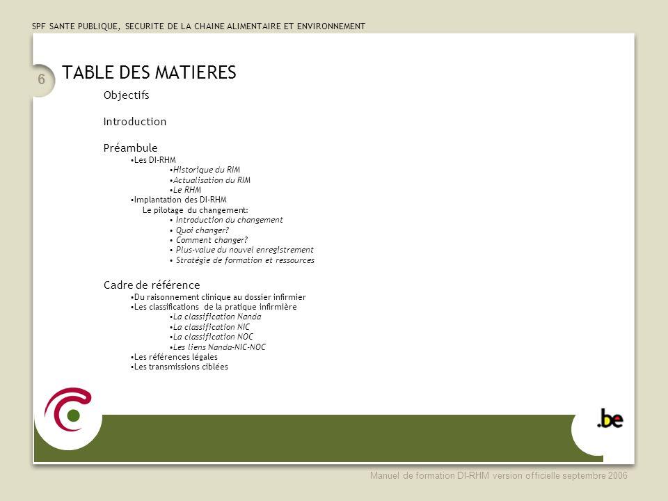 TABLE DES MATIERES Objectifs Introduction Préambule Cadre de référence