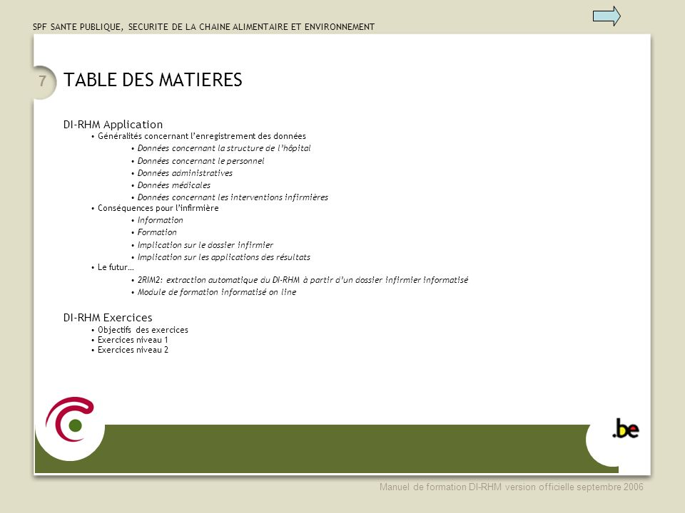 TABLE DES MATIERES DI-RHM Application DI-RHM Exercices