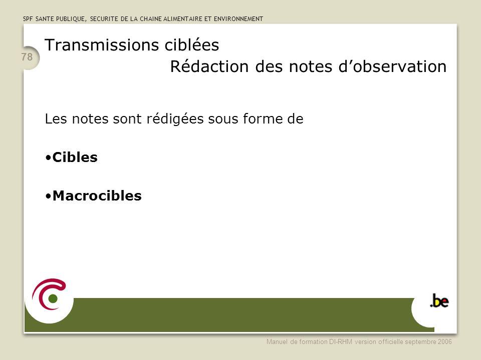 Transmissions ciblées Rédaction des notes d'observation