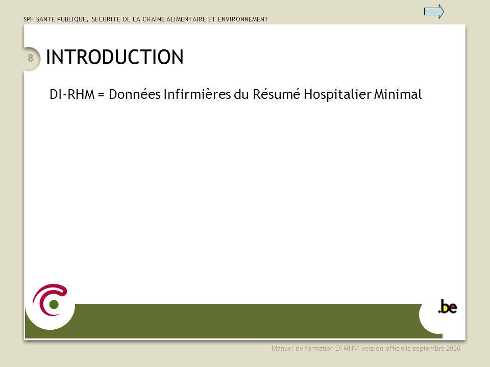 INTRODUCTION DI-RHM = Données Infirmières du Résumé Hospitalier Minimal.