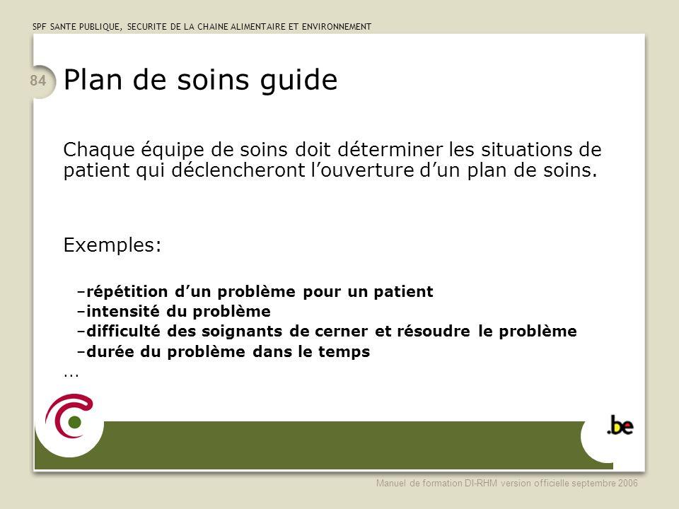 Plan de soins guide Chaque équipe de soins doit déterminer les situations de patient qui déclencheront l'ouverture d'un plan de soins.
