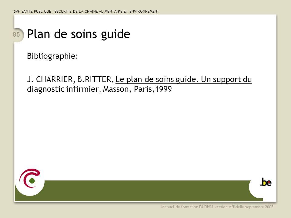 Plan de soins guide Bibliographie: