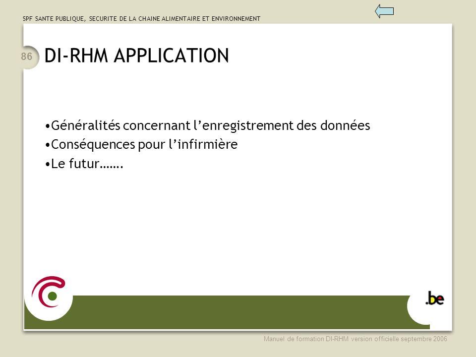 DI-RHM APPLICATION Généralités concernant l'enregistrement des données