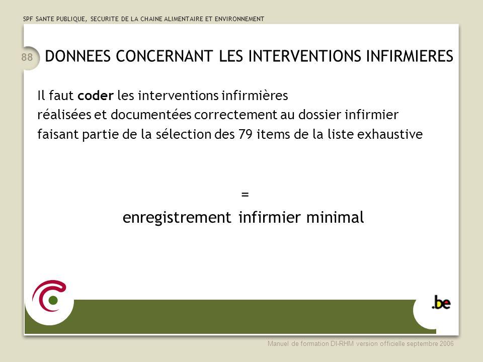 DONNEES CONCERNANT LES INTERVENTIONS INFIRMIERES