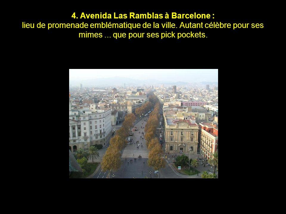 4.Avenida Las Ramblas à Barcelone : lieu de promenade emblématique de la ville.