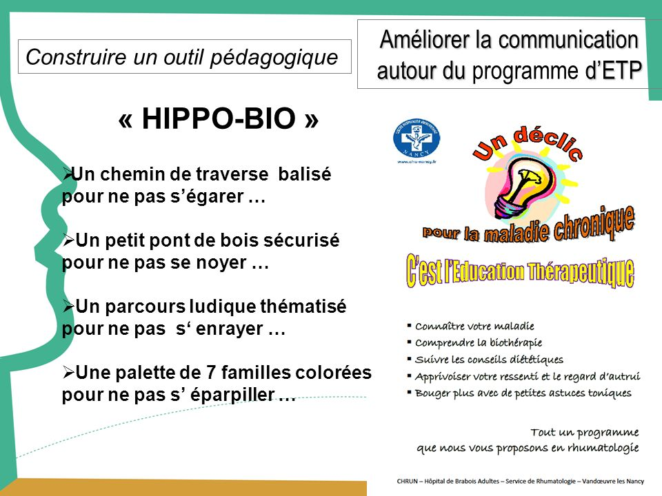 « HIPPO-BIO » Améliorer la communication autour du programme d'ETP