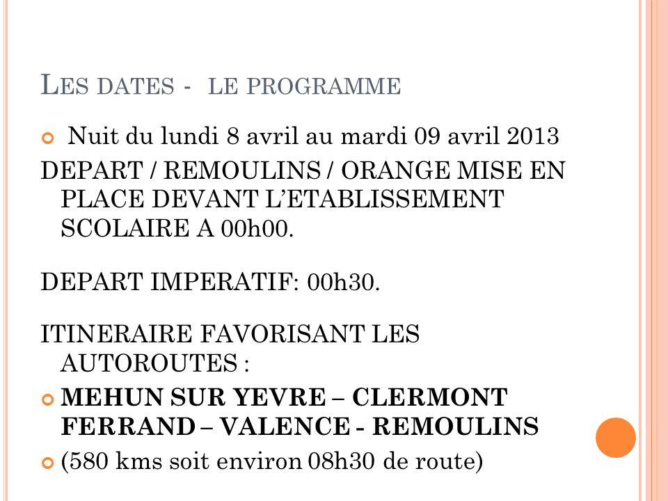 Les dates - le programme