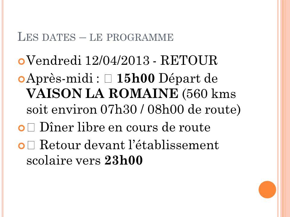 Les dates – le programme