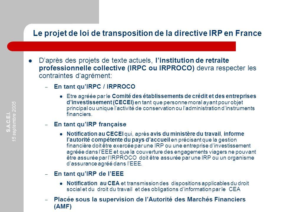 Le projet de loi de transposition de la directive IRP en France