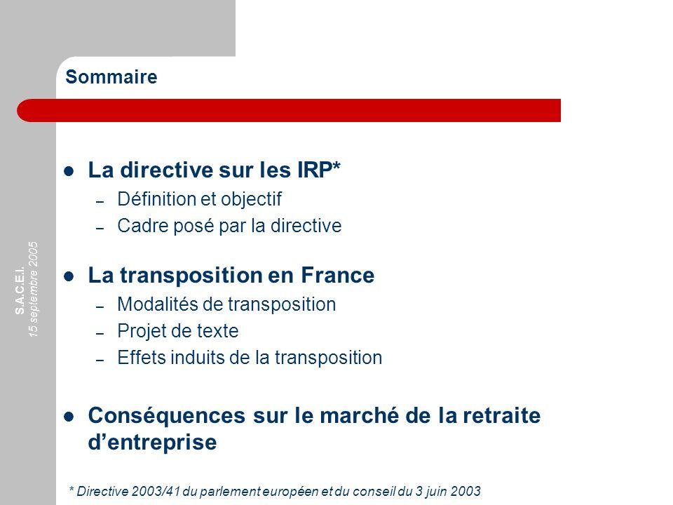 La directive sur les IRP*