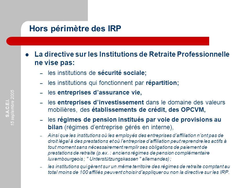 Hors périmètre des IRP La directive sur les Institutions de Retraite Professionnelle ne vise pas: les institutions de sécurité sociale;