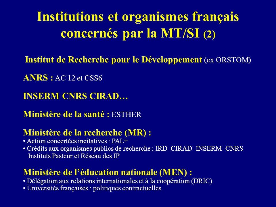 Institutions et organismes français concernés par la MT/SI (2)