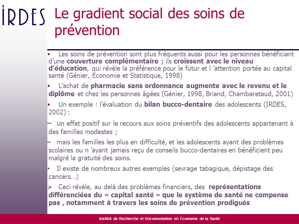 Le gradient social des soins de prévention