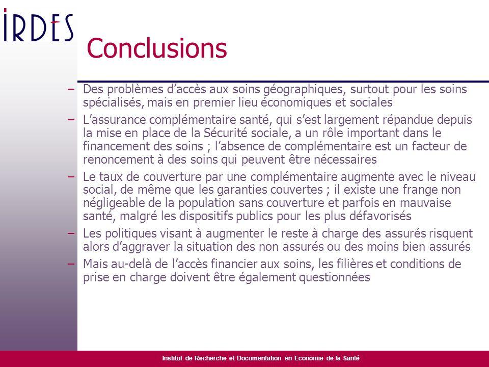 Conclusions Des problèmes d'accès aux soins géographiques, surtout pour les soins spécialisés, mais en premier lieu économiques et sociales.