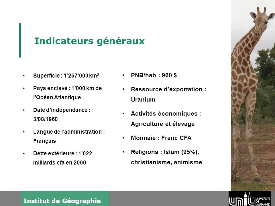 Indicateurs généraux PNB/hab : 960 $ Ressource d'exportation : Uranium