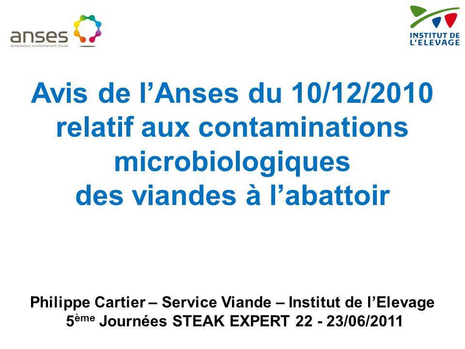relatif aux contaminations microbiologiques des viandes à l'abattoir