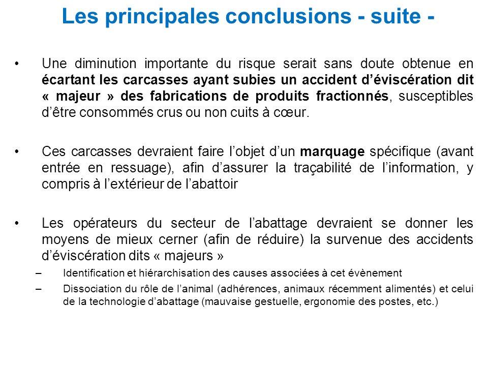 Les principales conclusions - suite -