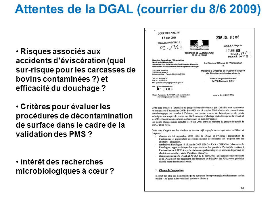 Attentes de la DGAL (courrier du 8/6 2009)