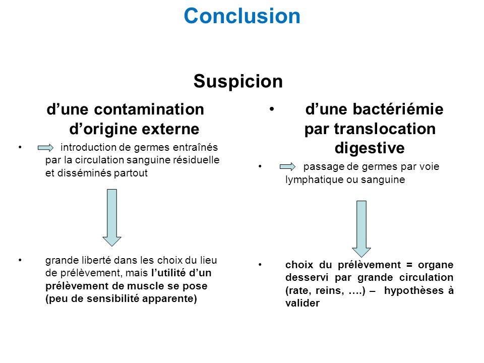 Conclusion Suspicion d'une contamination d'origine externe