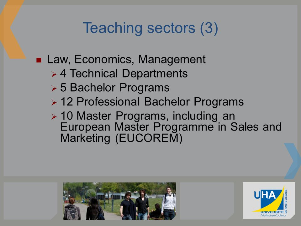 Teaching sectors (3) Law, Economics, Management