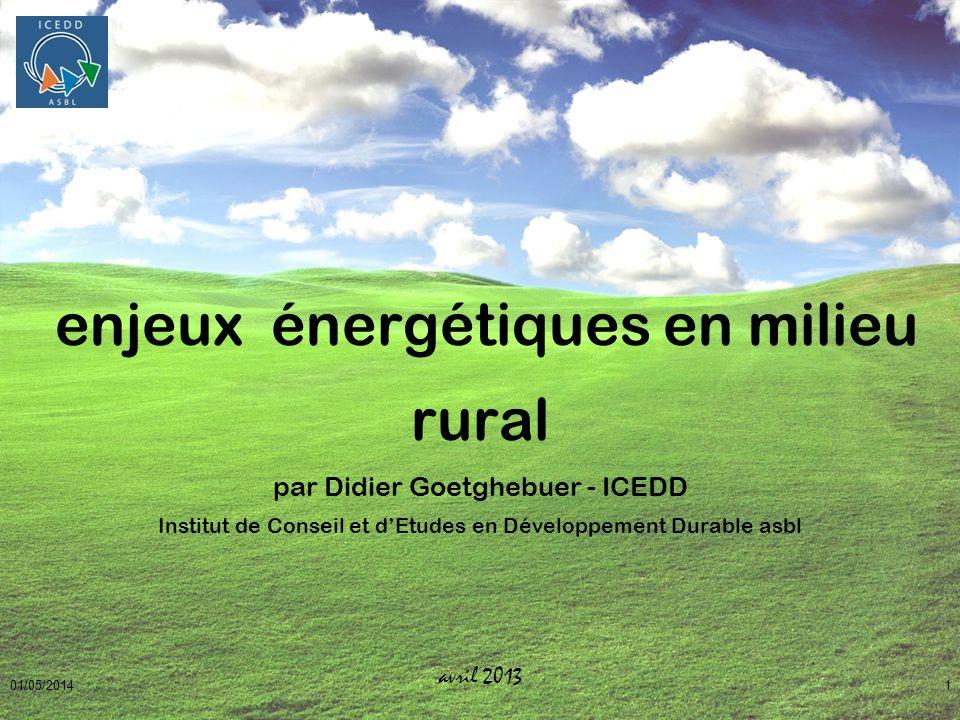 enjeux énergétiques en milieu rural par Didier Goetghebuer - ICEDD Institut de Conseil et d'Etudes en Développement Durable asbl avril 2013
