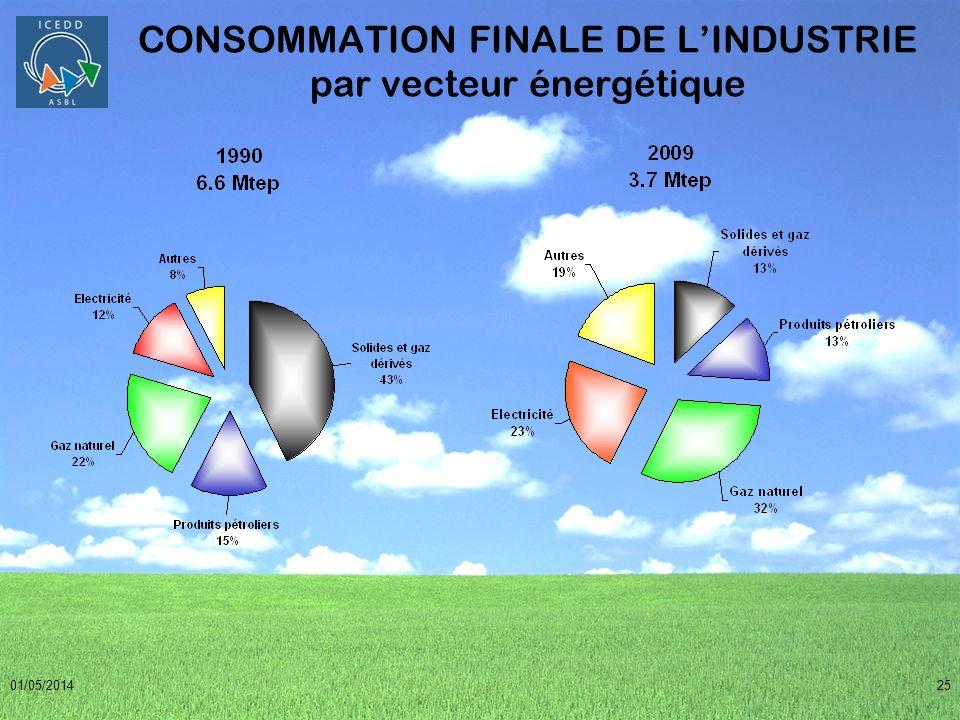 CONSOMMATION FINALE DE L'INDUSTRIE par vecteur énergétique