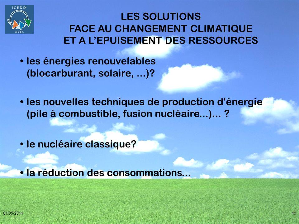 les énergies renouvelables (biocarburant, solaire, ...)