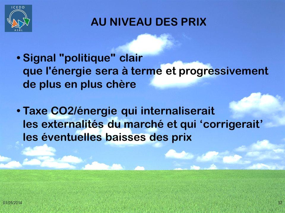 AU NIVEAU DES PRIX Signal politique clair que l énergie sera à terme et progressivement de plus en plus chère.
