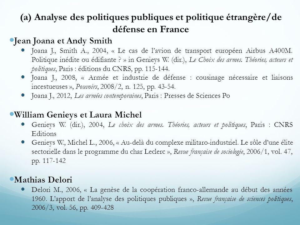 (a) Analyse des politiques publiques et politique étrangère/de défense en France