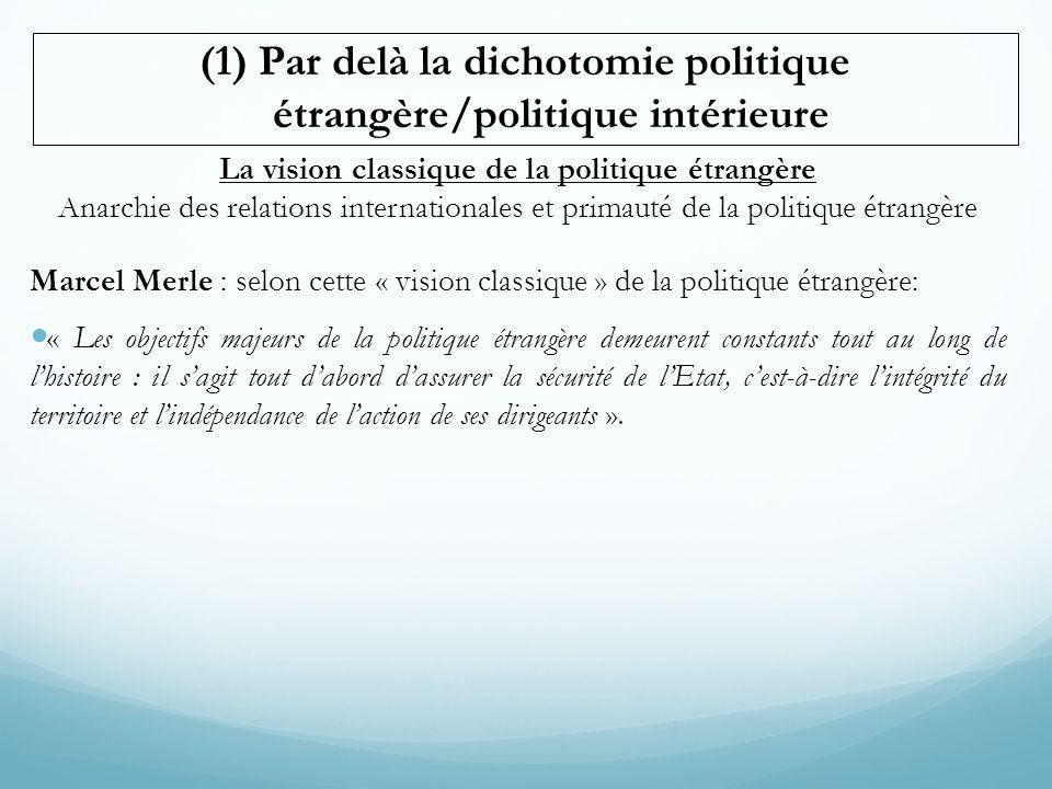 (1) Par delà la dichotomie politique étrangère/politique intérieure