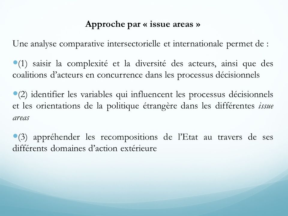 Approche par « issue areas »