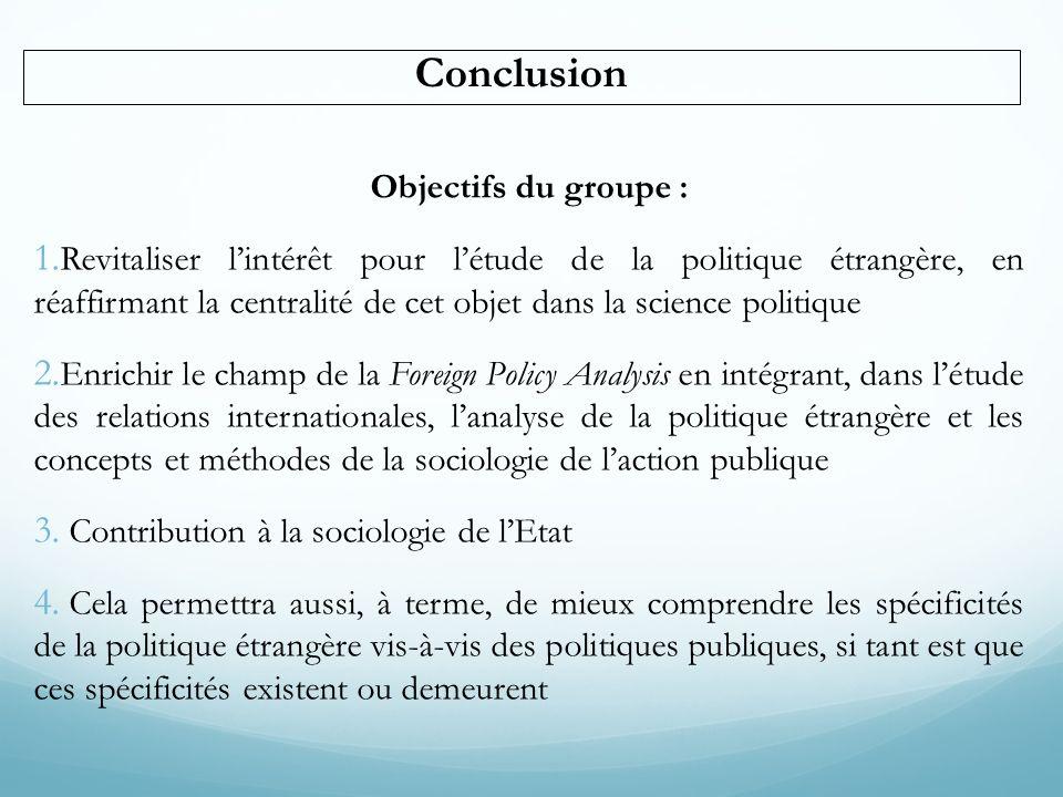 Conclusion Objectifs du groupe :