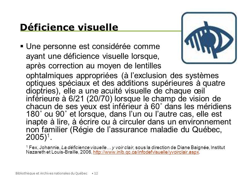 Déficience visuelle Une personne est considérée comme