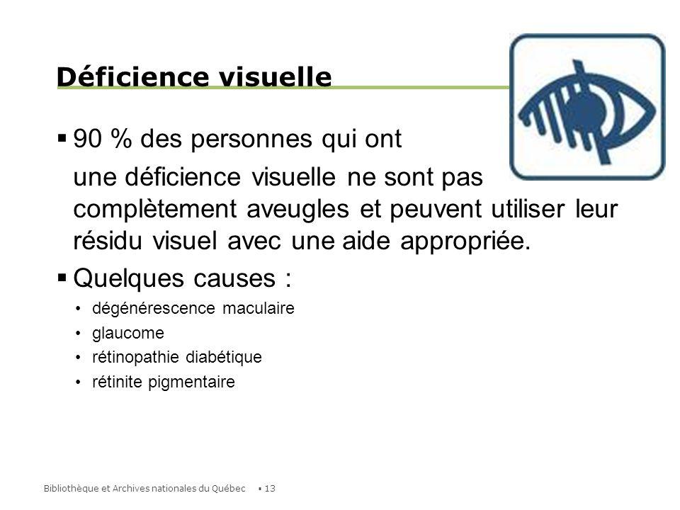 Déficience visuelle 90 % des personnes qui ont