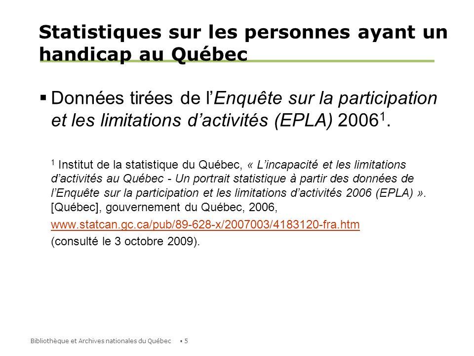 Statistiques sur les personnes ayant un handicap au Québec