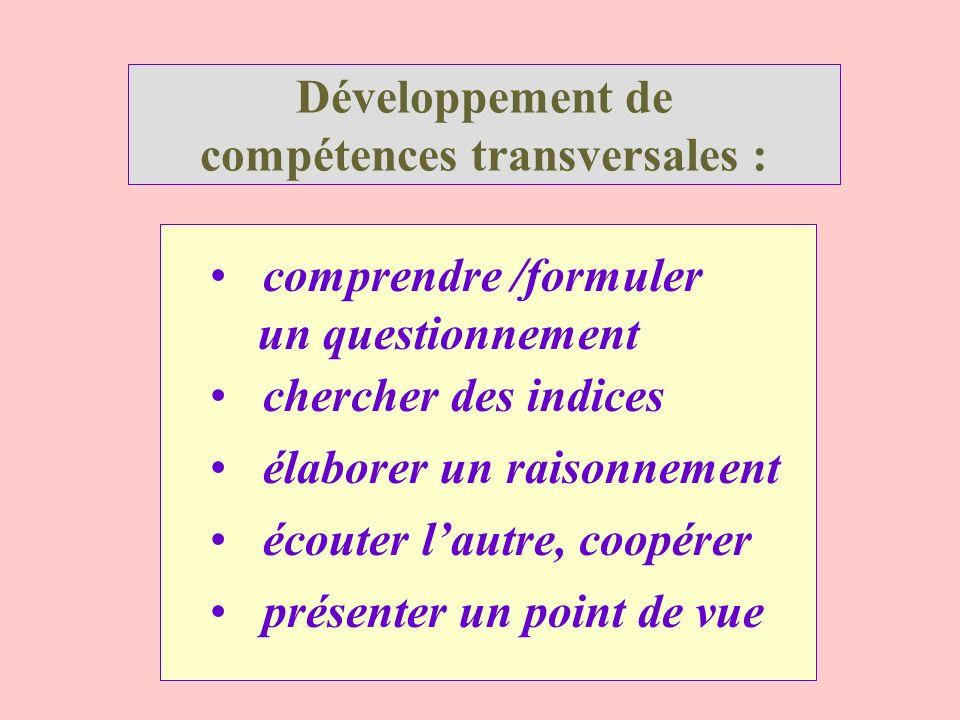 Développement de compétences transversales :