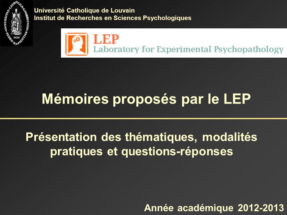 Mémoires proposés par le LEP
