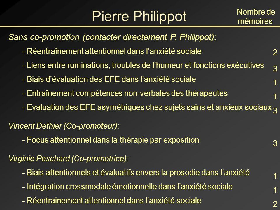 Pierre Philippot Nombre de mémoires. Sans co-promotion (contacter directement P. Philippot): - Réentraînement attentionnel dans l'anxiété sociale.