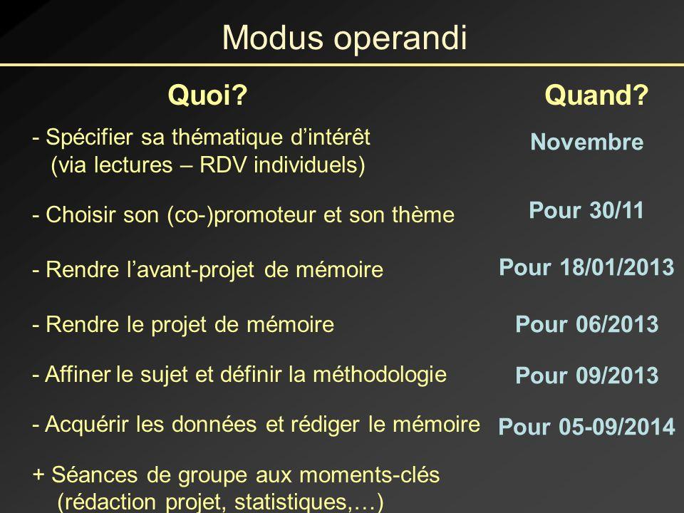 Modus operandi Quoi Quand Novembre Pour 30/11 Pour 18/01/2013