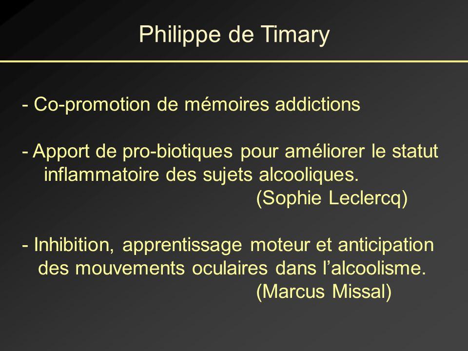 Philippe de Timary Co-promotion de mémoires addictions