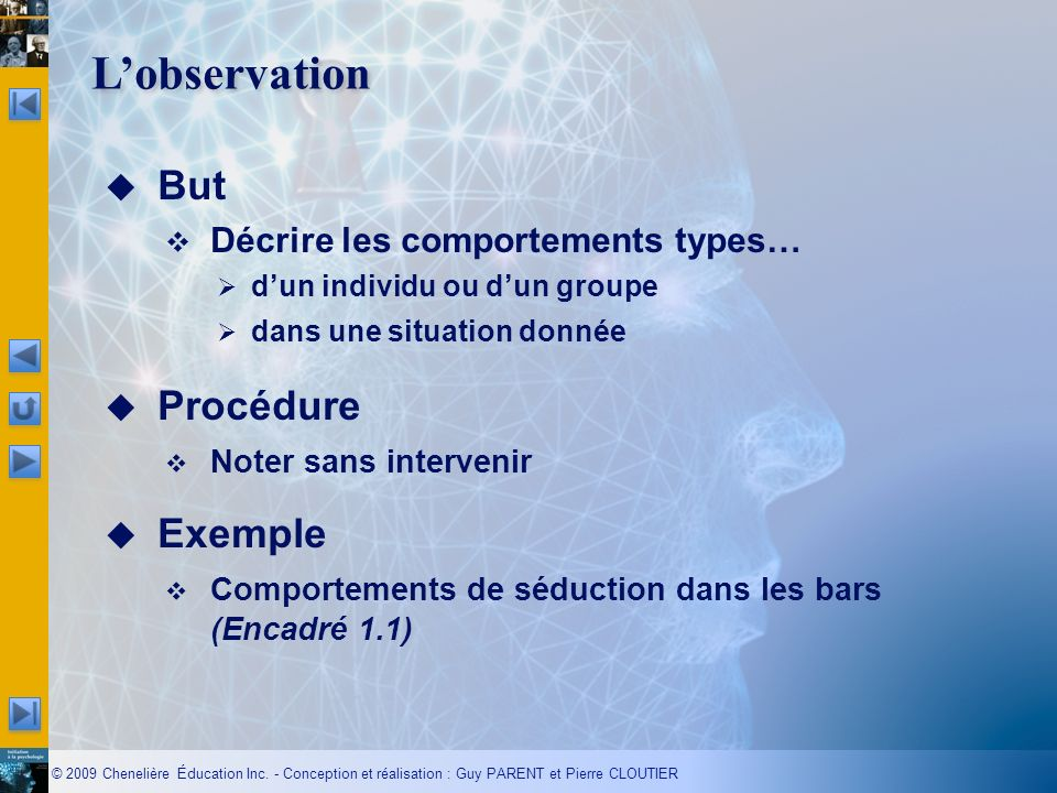 L'observation But Procédure Exemple Décrire les comportements types…