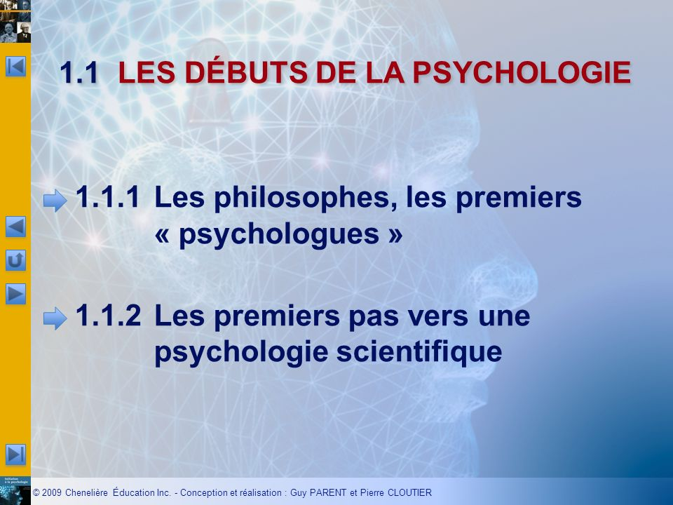 1.1 LES DÉBUTS DE LA PSYCHOLOGIE