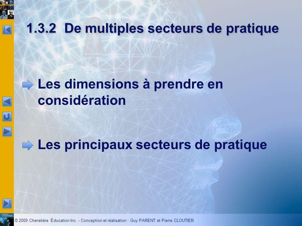 1.3.2 De multiples secteurs de pratique