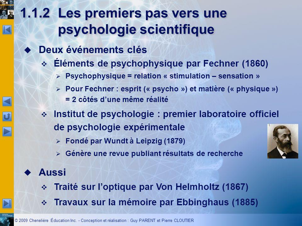 1.1.2 Les premiers pas vers une psychologie scientifique