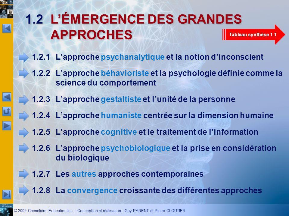 1.2 L'ÉMERGENCE DES GRANDES APPROCHES