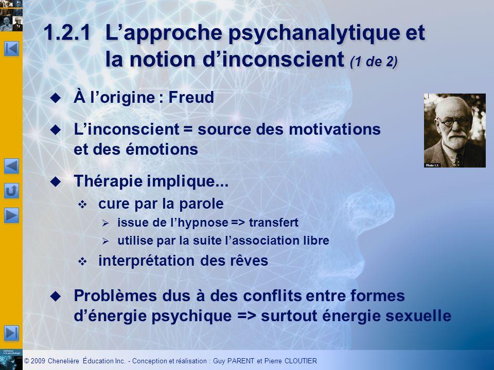 1.2.1 L'approche psychanalytique et la notion d'inconscient (1 de 2)