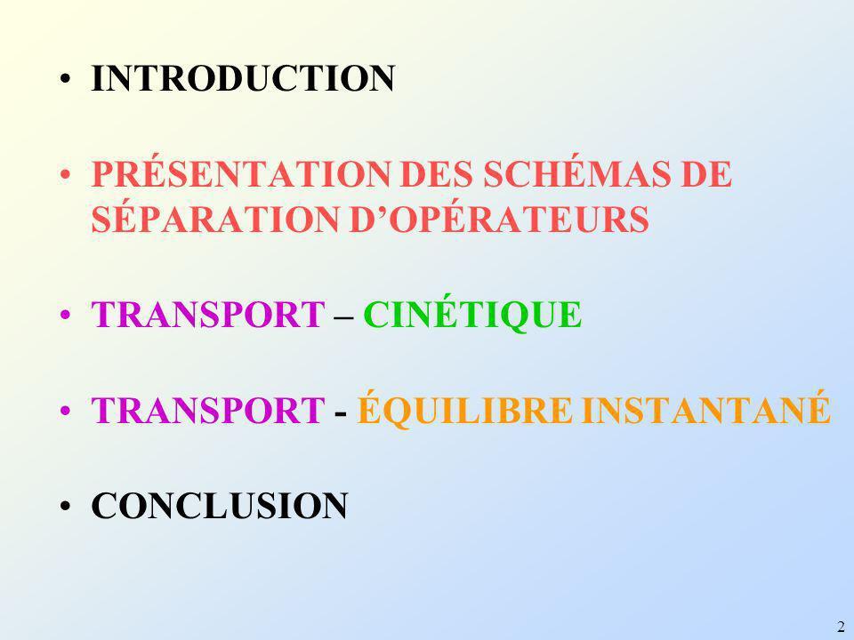 INTRODUCTION PRÉSENTATION DES SCHÉMAS DE SÉPARATION D'OPÉRATEURS. TRANSPORT – CINÉTIQUE. TRANSPORT - ÉQUILIBRE INSTANTANÉ.
