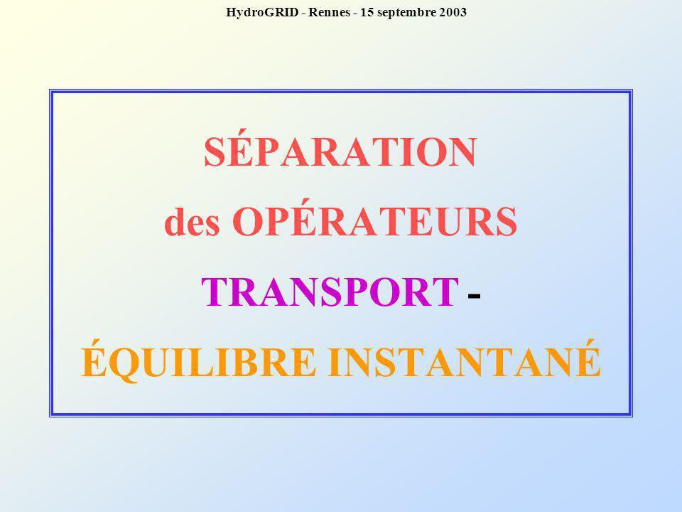 SÉPARATION des OPÉRATEURS TRANSPORT - ÉQUILIBRE INSTANTANÉ
