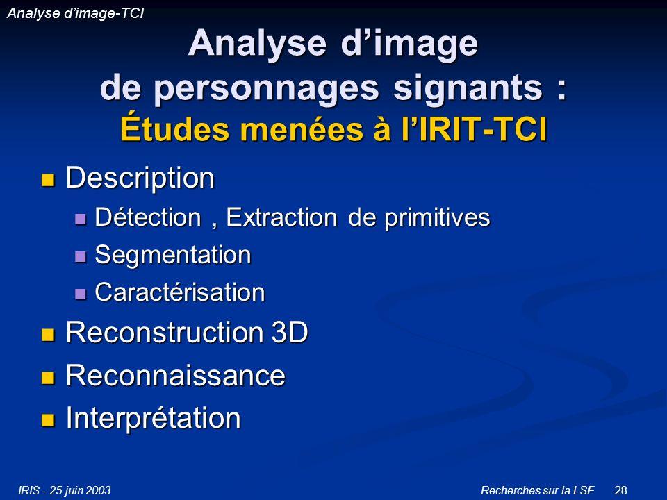 Analyse d'image de personnages signants : Études menées à l'IRIT-TCI